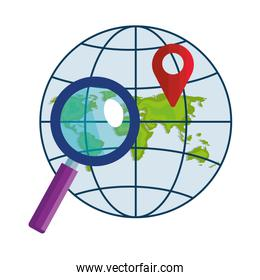 Isolated gps mark lupe and global sphere vector design