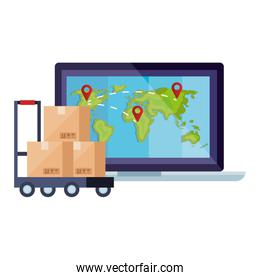 boxes over cart and world map inside laptop vector design