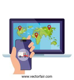 smartphone and world map inside laptop vector design