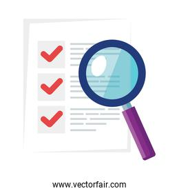 Isolated list document with lupe vector design