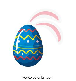 cute egg easter decorated with geometric lines and ears rabbit