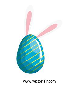 cute egg easter decorated with stripes and ears rabbit