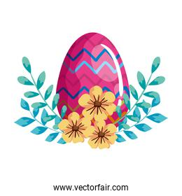 egg easter decorated with gemetric lines and flowers