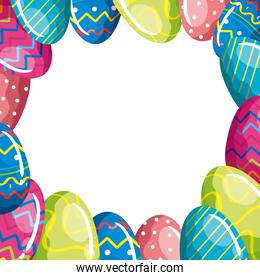 frame of cute eggs easter decorated