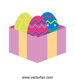 set of cute eggs easter in gift box