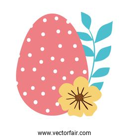 cute egg easter decorated with dots and flower