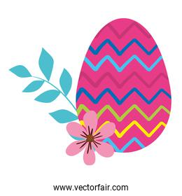 egg easter decorated with gemetric lines and flower