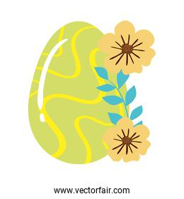 cute egg easter decorated waves lines and flowers