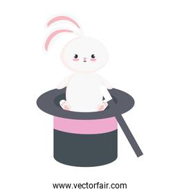 cute rabbit with hat wizard isolated icon