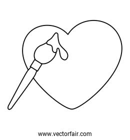 paint brush with heart isolated icon