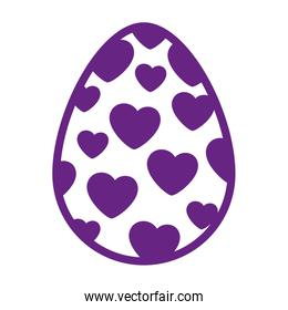 cute egg easter decorated with hearts