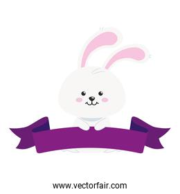 cute rabbit animal with ribbon isolated icon