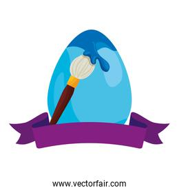cute egg easter with paint brush