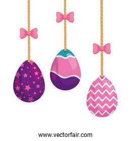 set of cute eggs easter decorated hanging