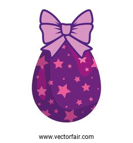 cute egg easter decorated with stars and bow ribbon