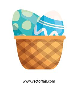 set of cute eggs easter decorated in basket wicker