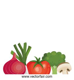 fresh tomato with vegetables isolated icons