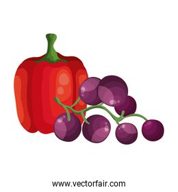 fresh grapes with pepper vegetables isolated icon