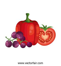 fresh grapes with pepper and tomato