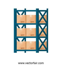 warehouse metal shelving with boxes isolated icon