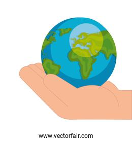 hand with world planet earth isolated icon
