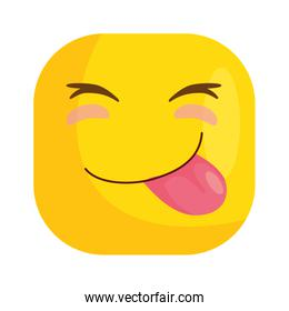 funny square emoticon with tongue out