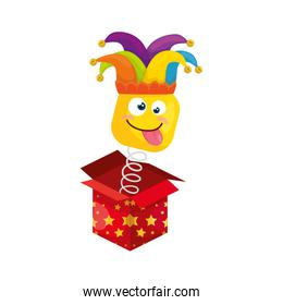 funny square emoticon crazy with hat buffon in box surprise