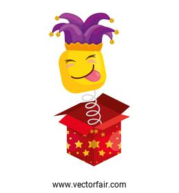 funny square emoticon with tongue out and hat buffon in box surprise