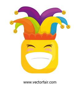 funny square emoticon smiling with hat buffon