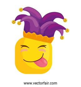 funny square emoticon with tongue out and hat buffon