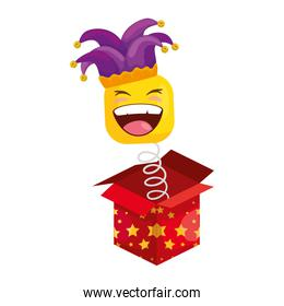 funny square emoticon smiling with hat buffon in box surprise
