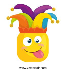 funny square emoticon crazy with hat buffon