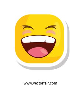 funny square emoticon smiling isolated icon