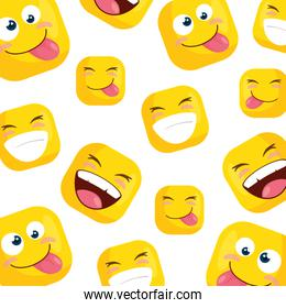 background of funny square emoticons