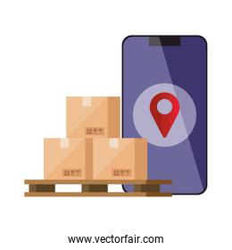 smartphone with logistic service app