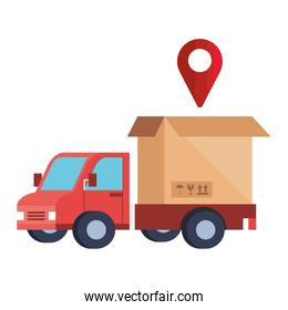 delivery service with truck and box