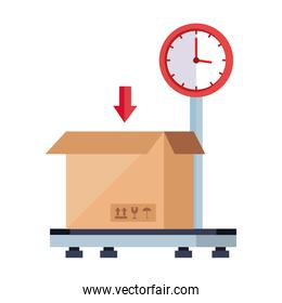 box package cargo in weighing machine isolated icon