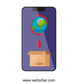 world planet with box in smartphone isolated icon