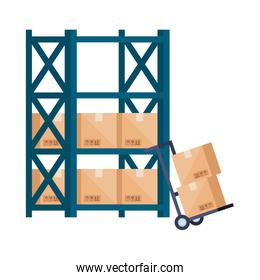 warehouse metal shelving with boxes and wheelbarrow