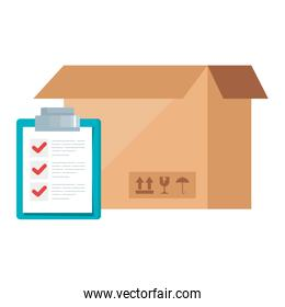 box package with clipboard document isolated icon