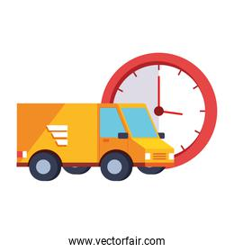 delivery service van with clock isolated icon