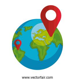 world planet earth with pin pointer location isolated icon