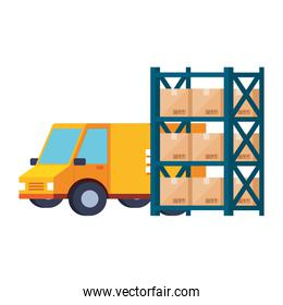 delivery service van and warehouse metal shelving with boxes white background