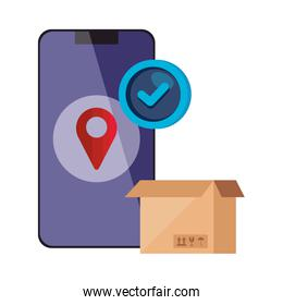 smartphone with location app and box carton