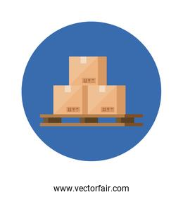boxes packages cargo in frame circular