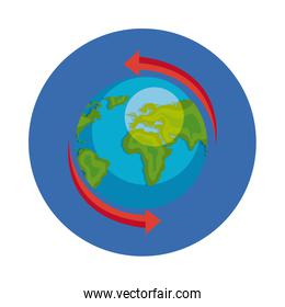isolated world planet earth in frame circular