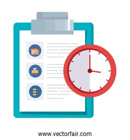 clipboard with paper document and clock