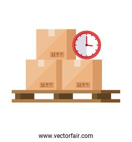 boxes packages with clock isolated icons
