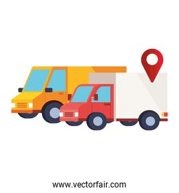 delivery service vehicles transportation isolated icon
