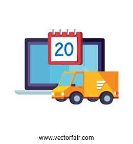 delivery service van with calendar and laptop